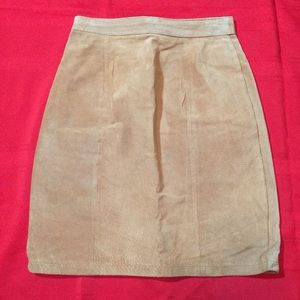 THE LIMITED Light Brown Suede SKIRT Back Slit 8